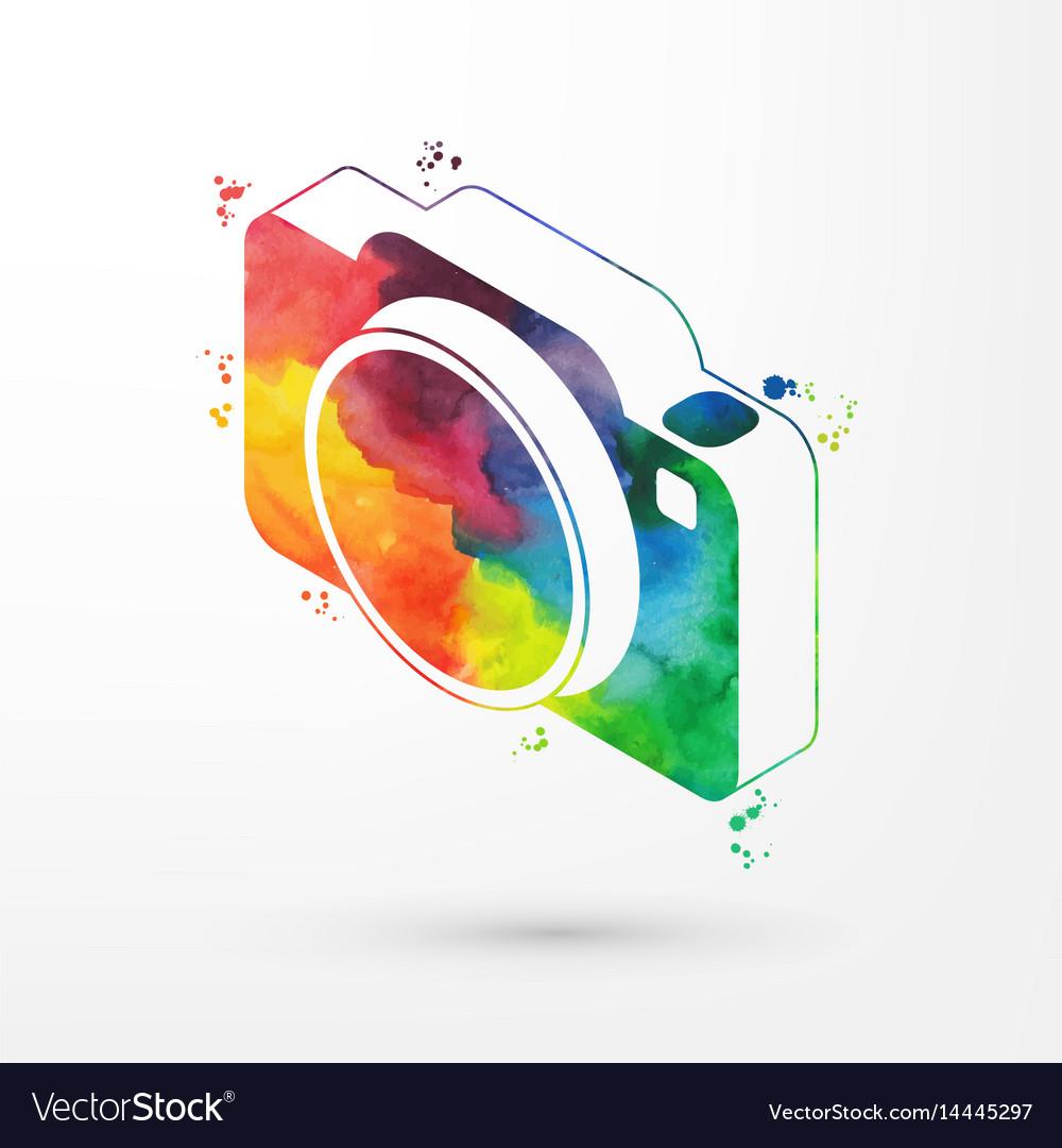 Isometric watercolor camera vector image