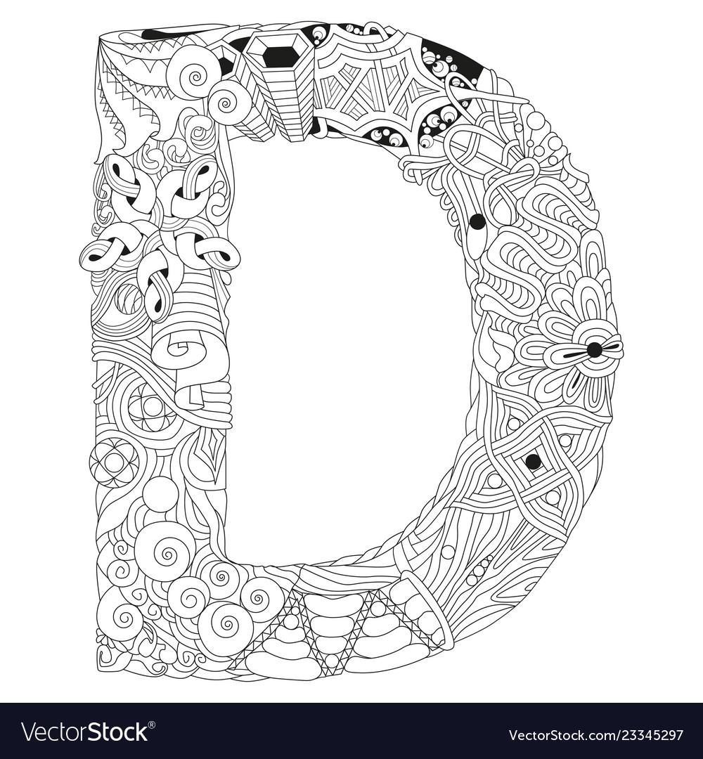 Letter d zentangle decorative object for Vector Image e3c3721ca