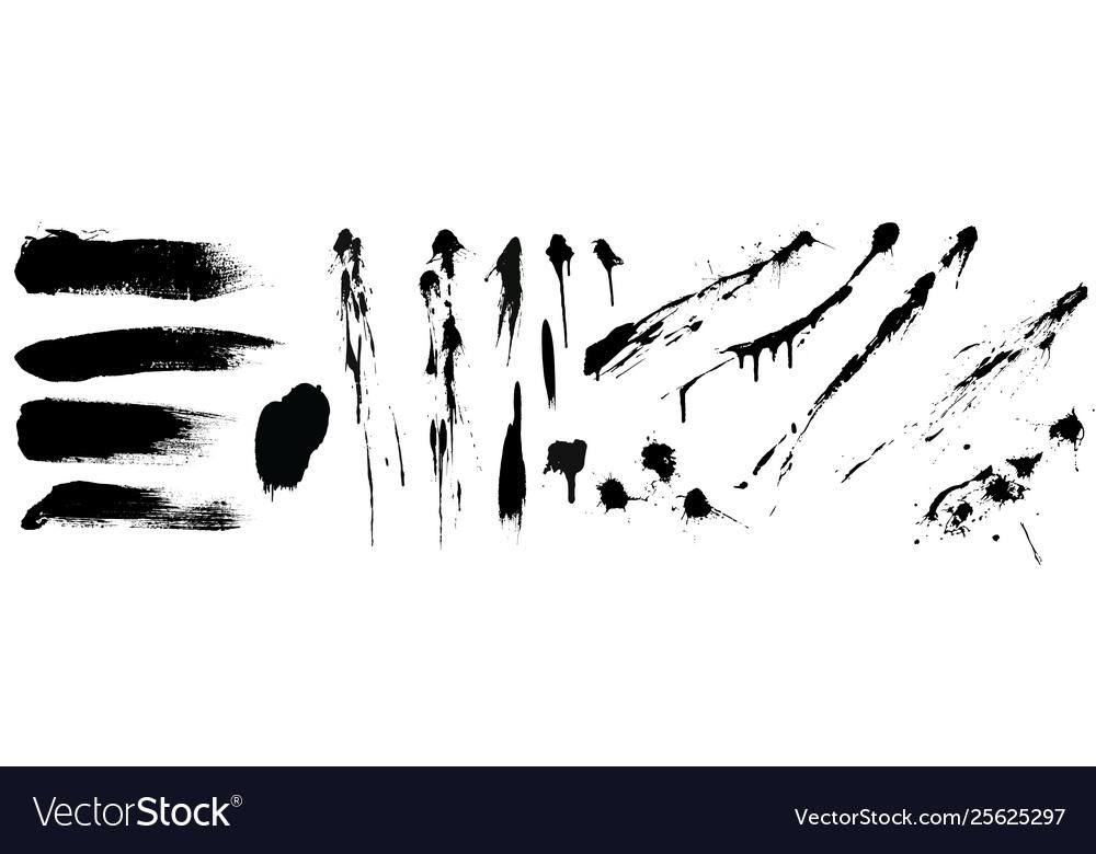 Set black high detail brushe strokes and