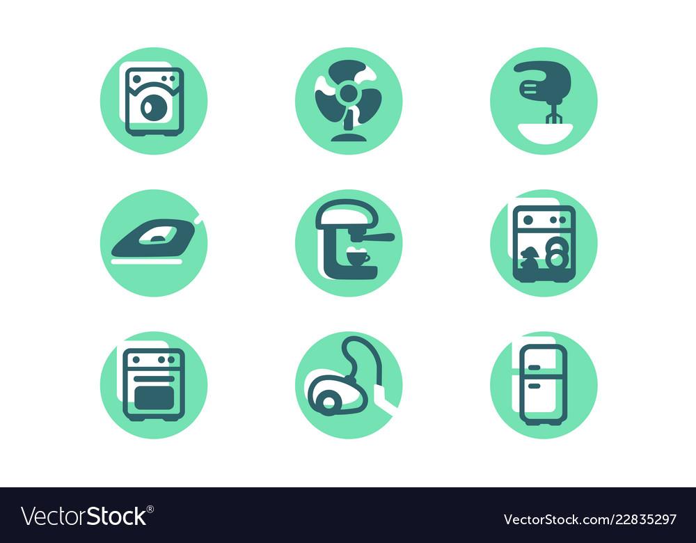 Set icons with home appliances fridge washer
