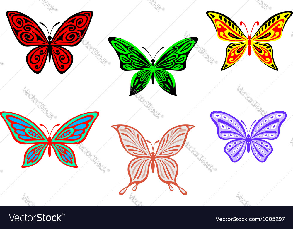 Set of colorful butterflies isolated on white