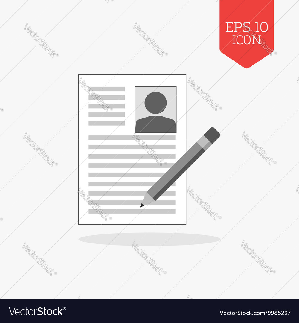 Signing resume icon Flat design gray color symbol Vector Image
