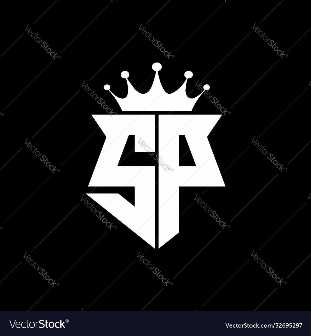 Sp logo monogram shield shape with crown design