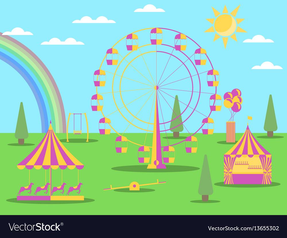 Amusement park flat style a ferris wheel
