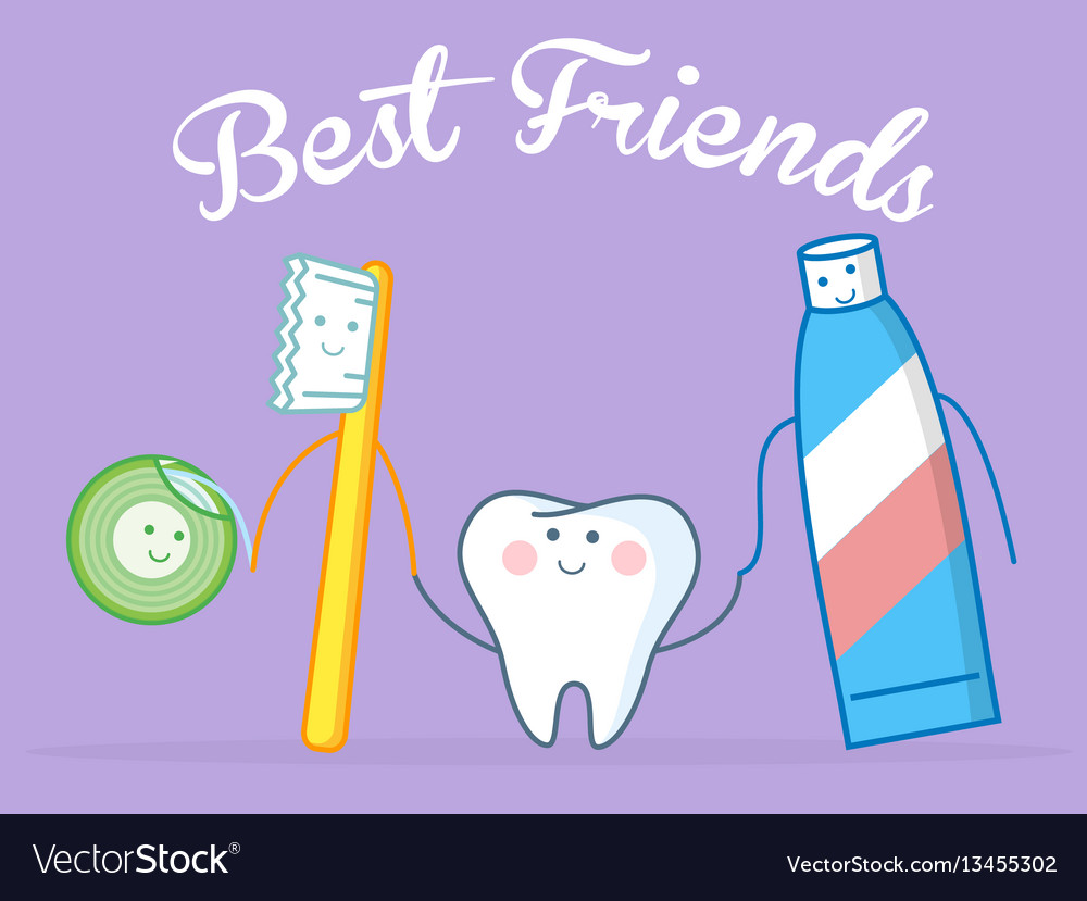 Best friends of healthy tooth vector image