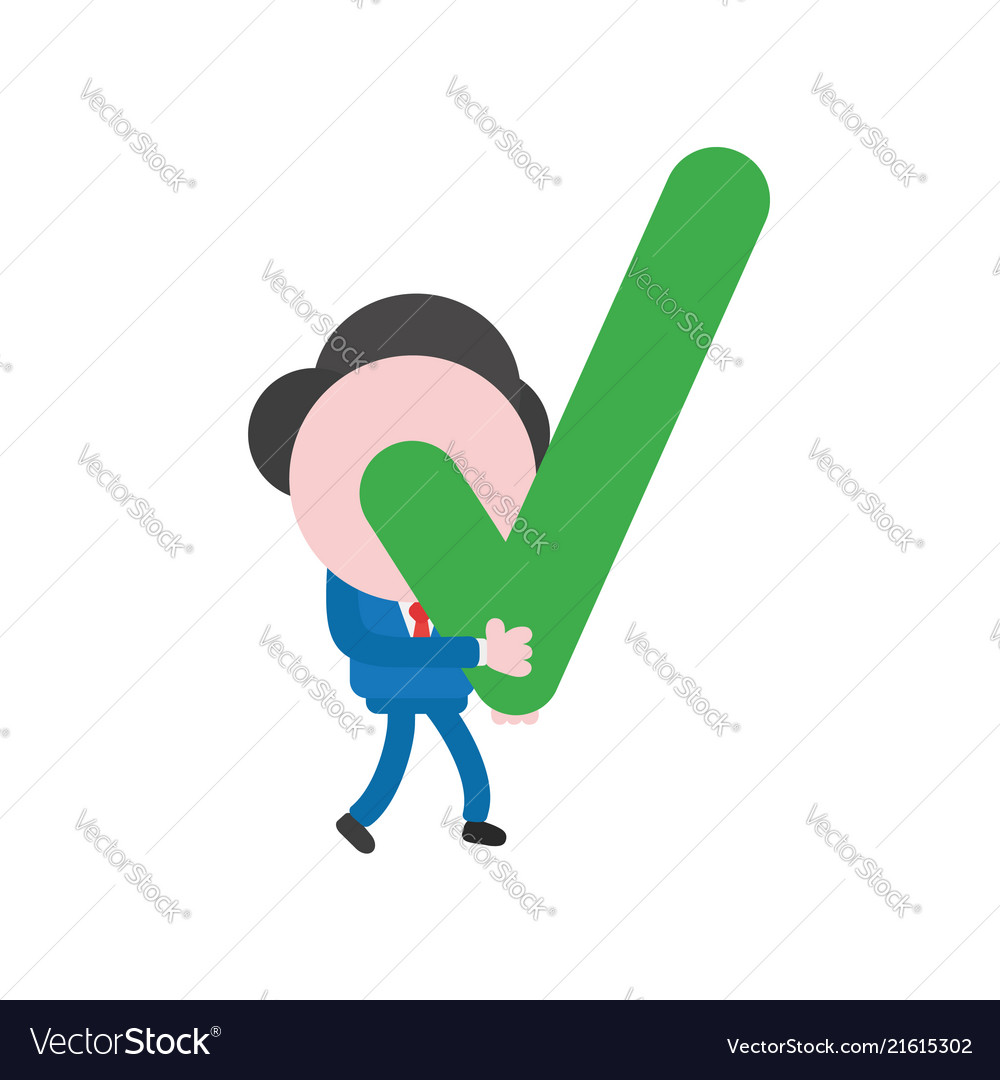 Businessman character walking and holding check
