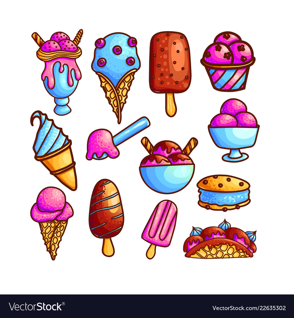 Colorful set of ice-cream icons