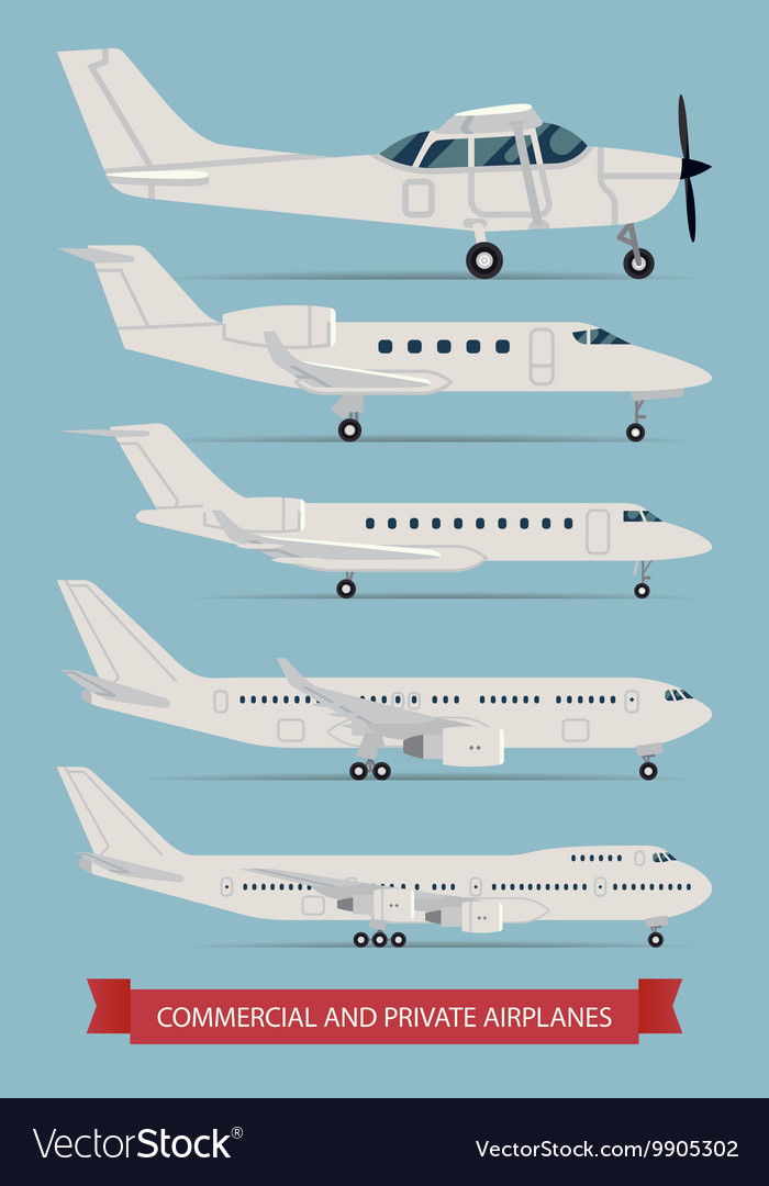 Commercial and Private Airplane Icon Set