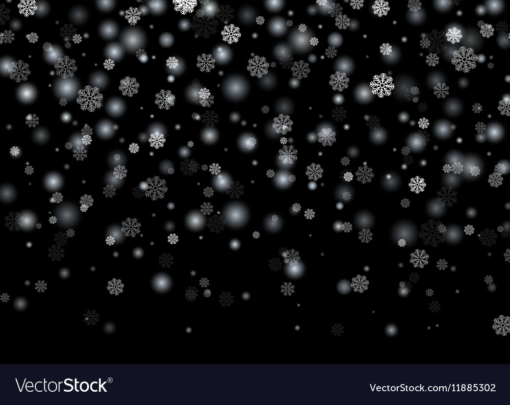 falling snow christmas new year card template with