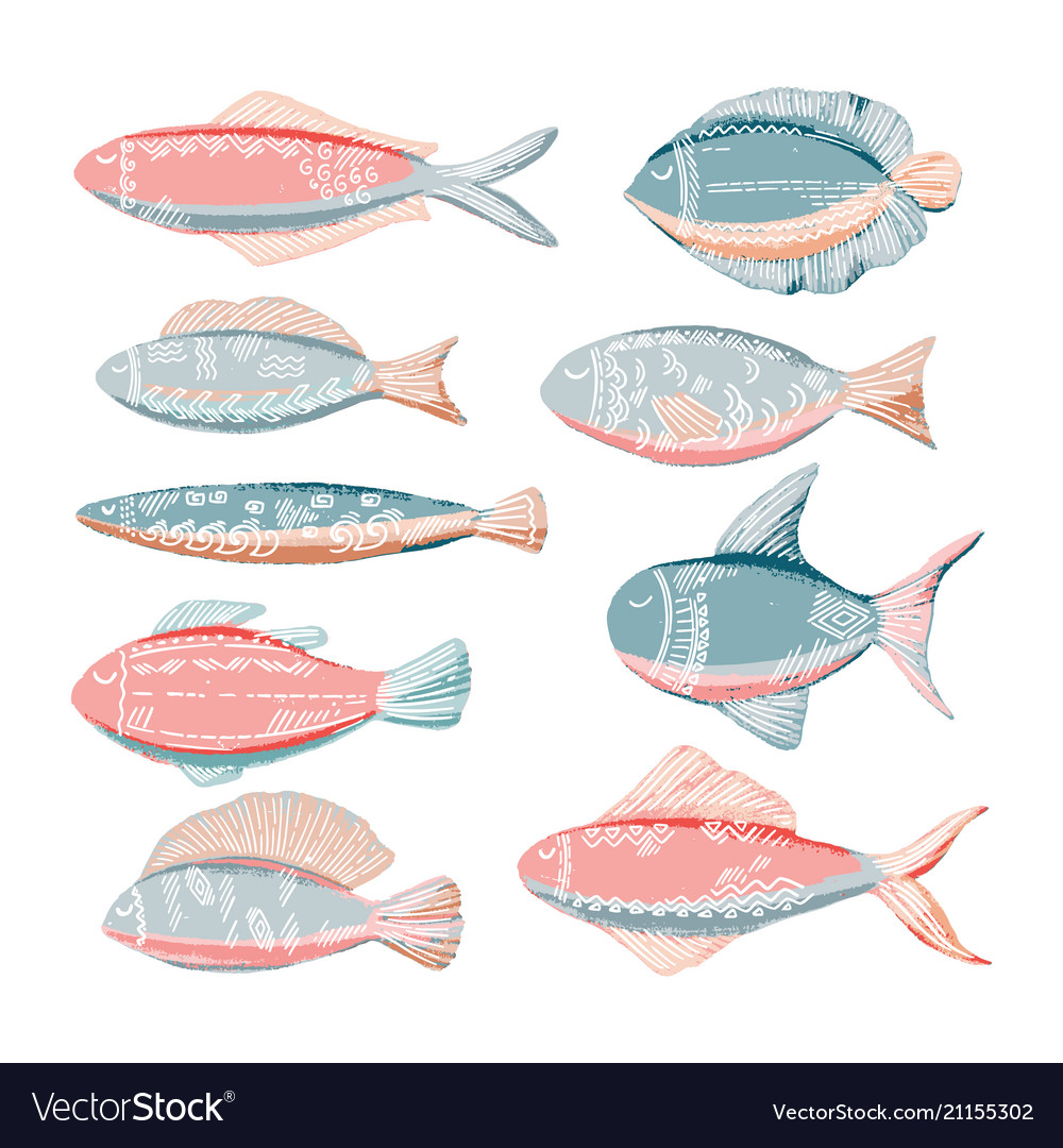 Funny doodle fish vector image