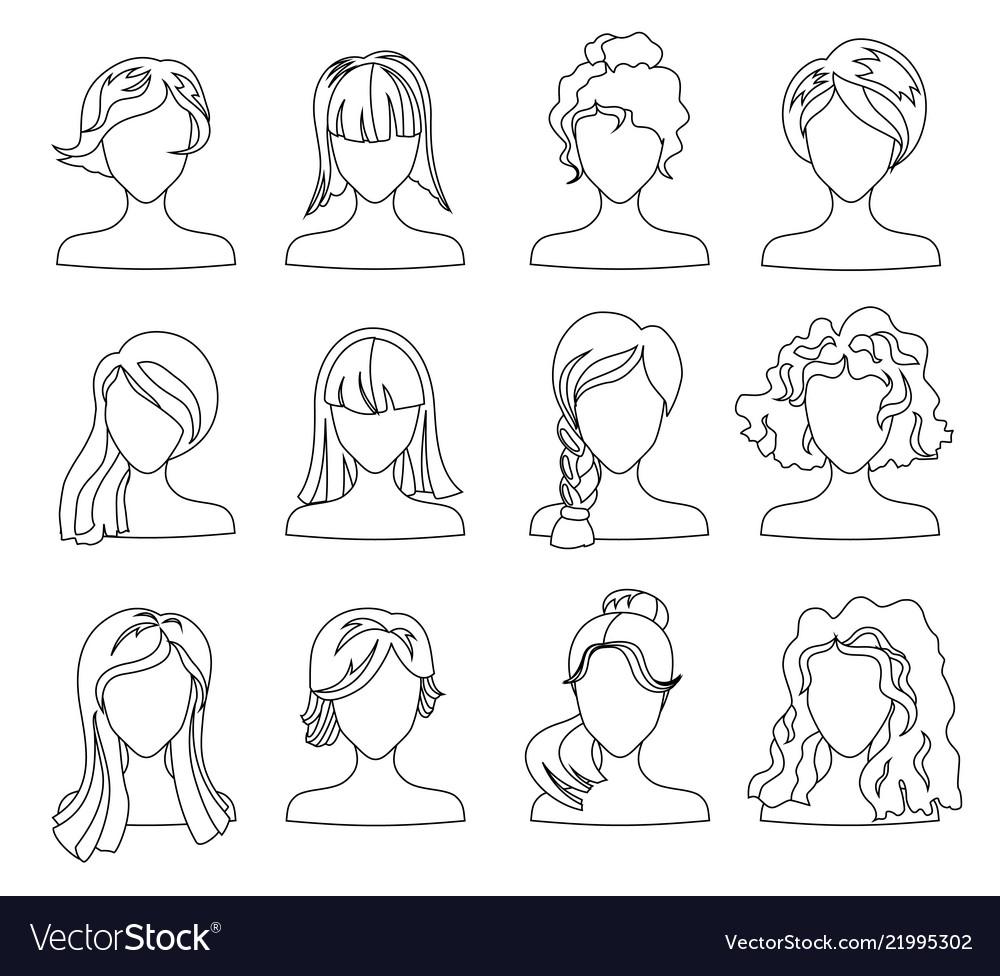 Hairstyle silhouette set woman girl female hair