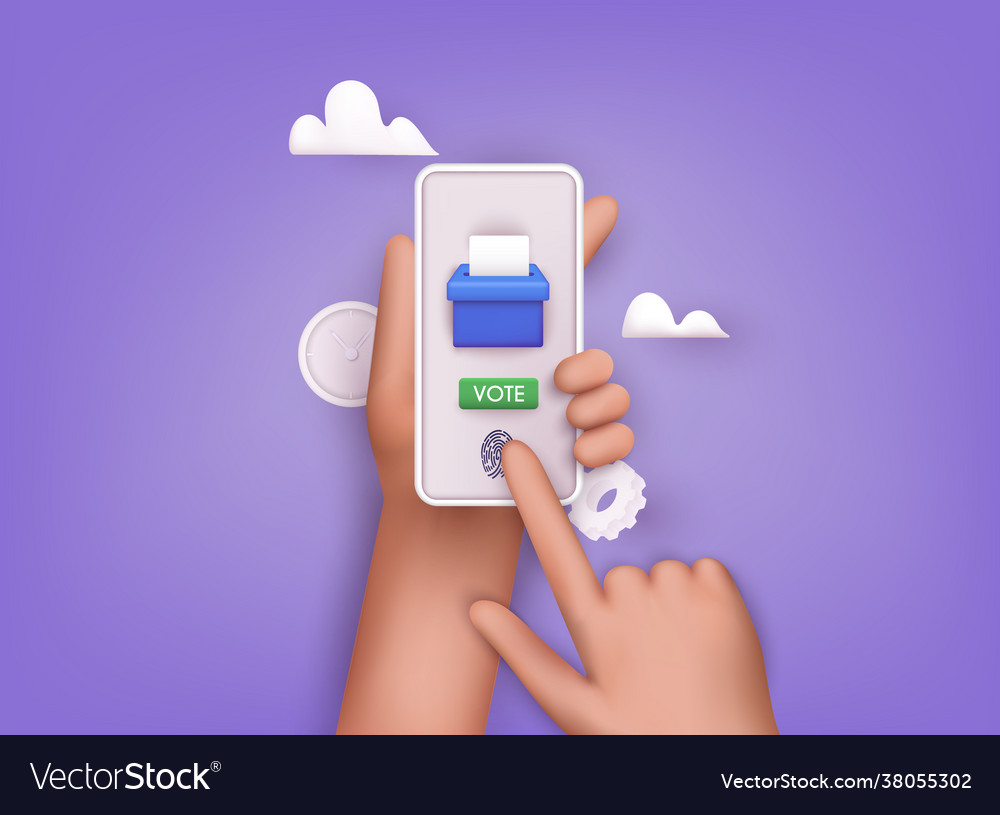 Hand holding smartphone with voting app