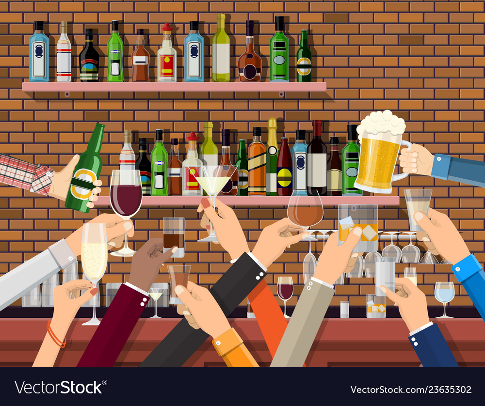 Hands group holding glasses with various drinks