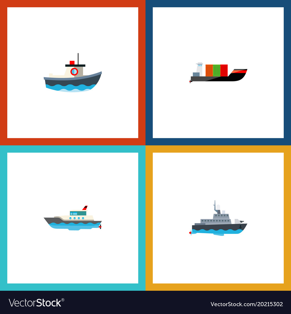 Icon flat boat set of cargo yacht boat and other