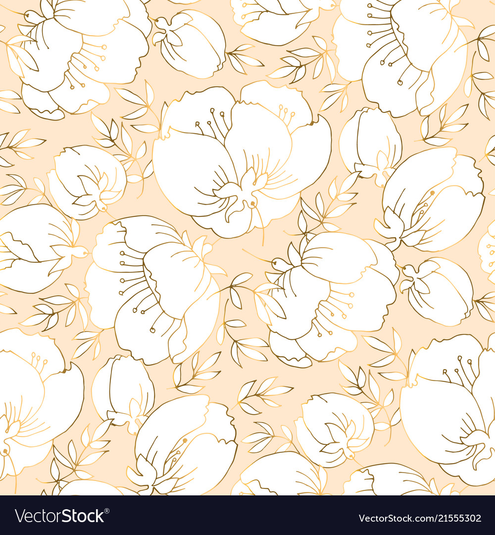 Ivory and beige luxury floral seamless pattern