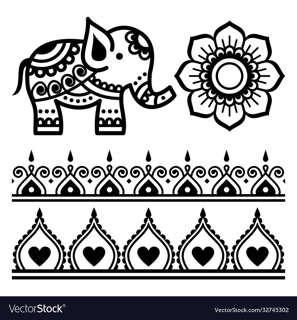 Mehndi indian mandala design elemnents