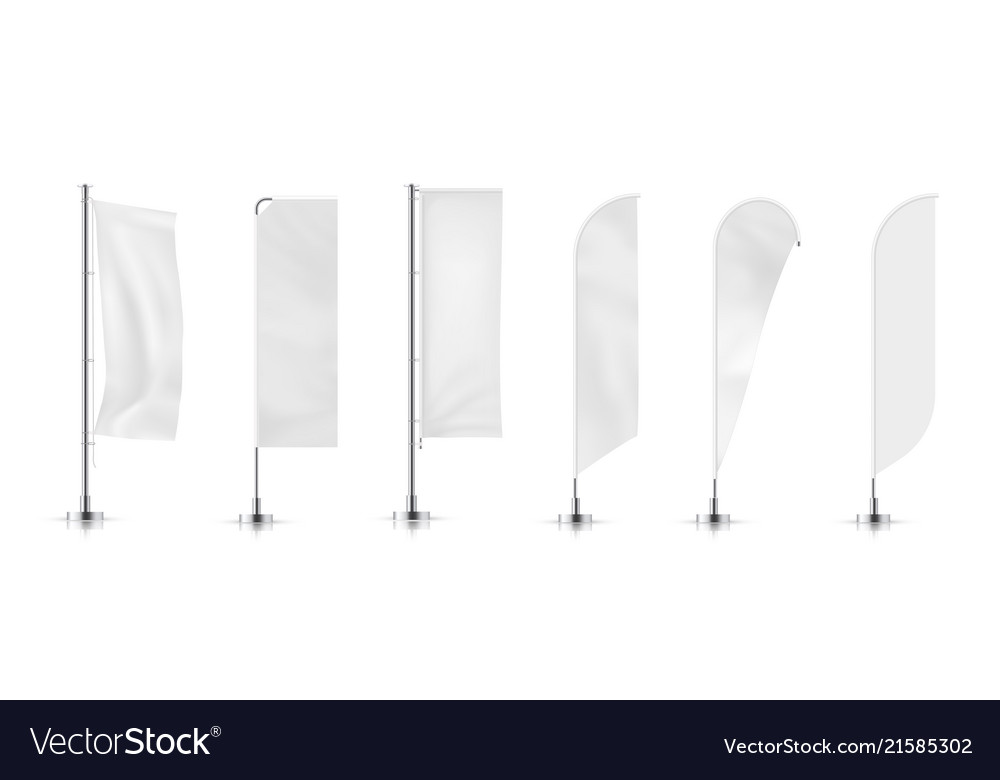 Set of different types banner flag