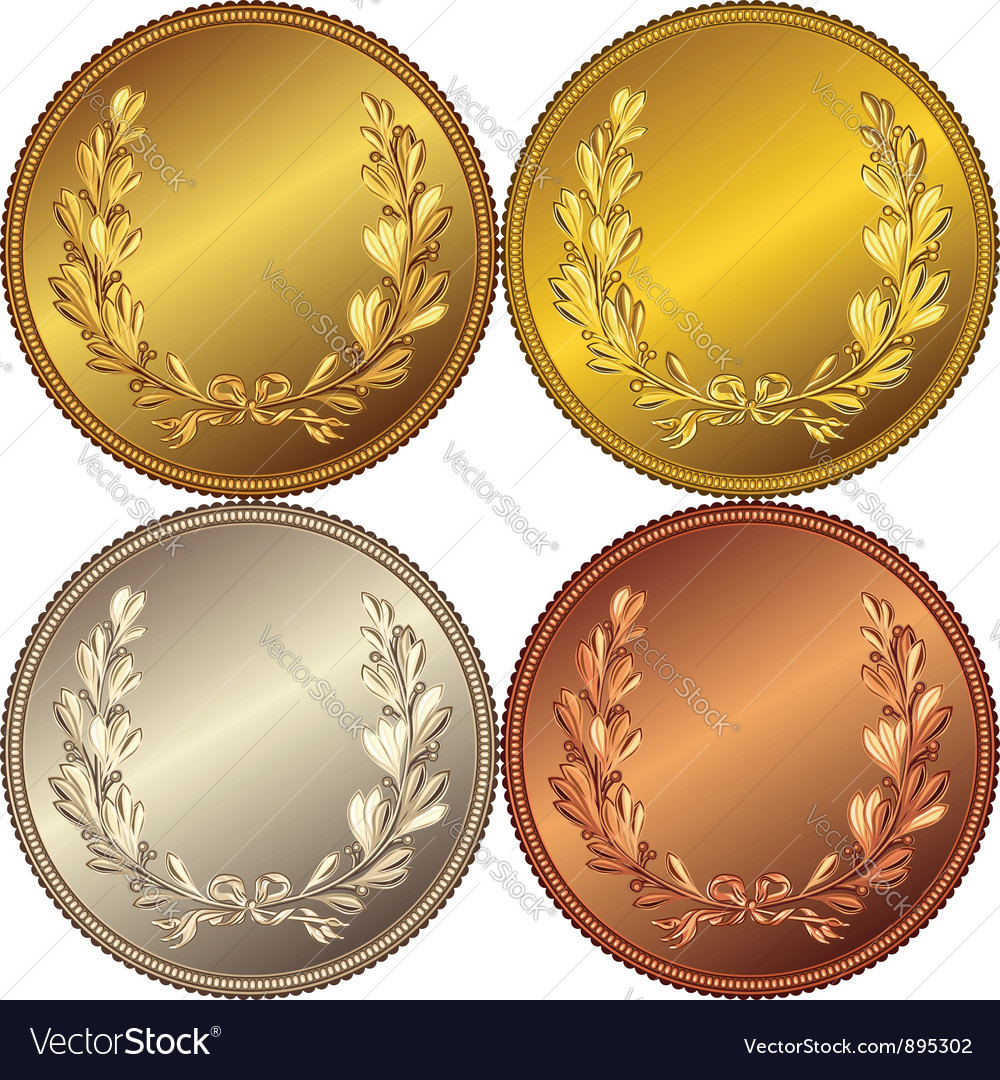 Set of the gold silver and bronze coins