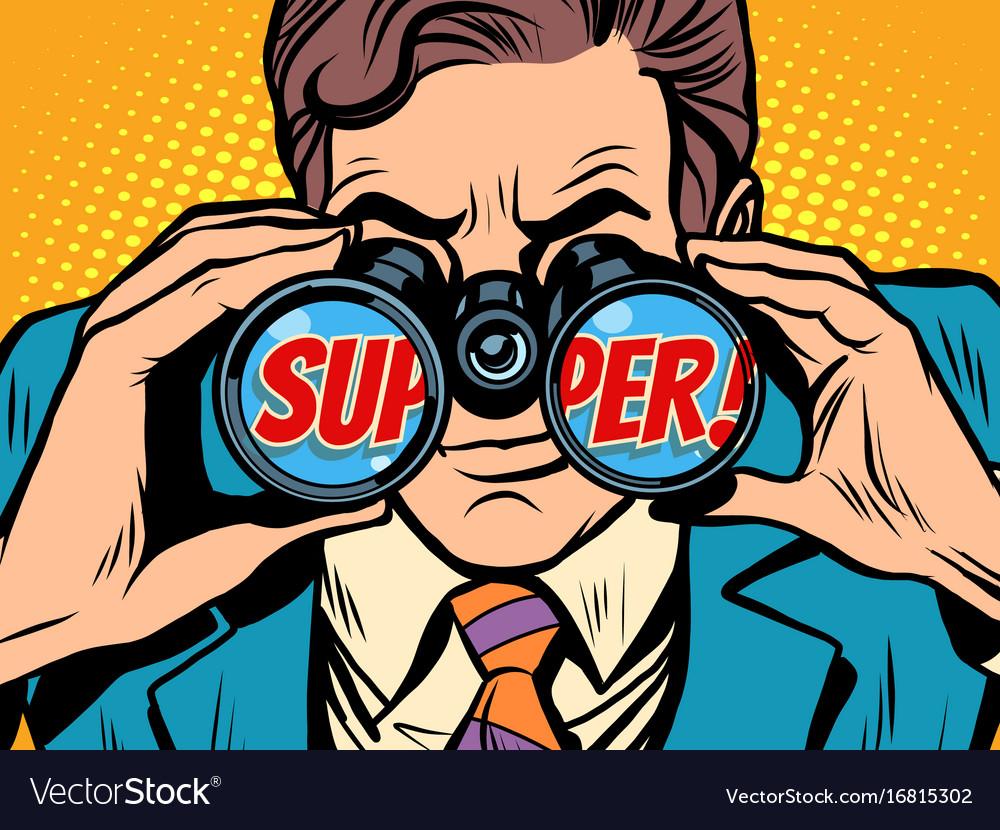 Super businessman looking through binoculars