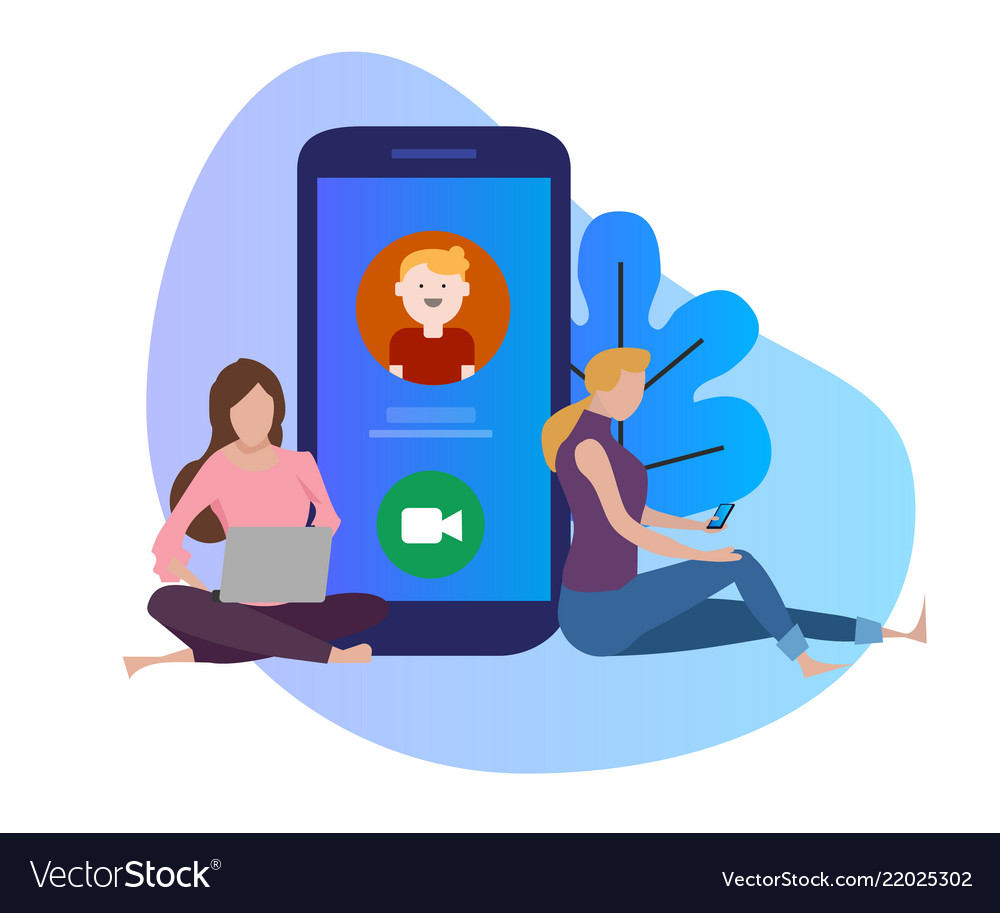 Video call conference young woman and man having