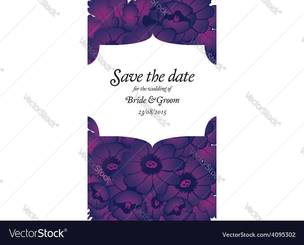 Wedding invitation with purple flowers Royalty Free Vector
