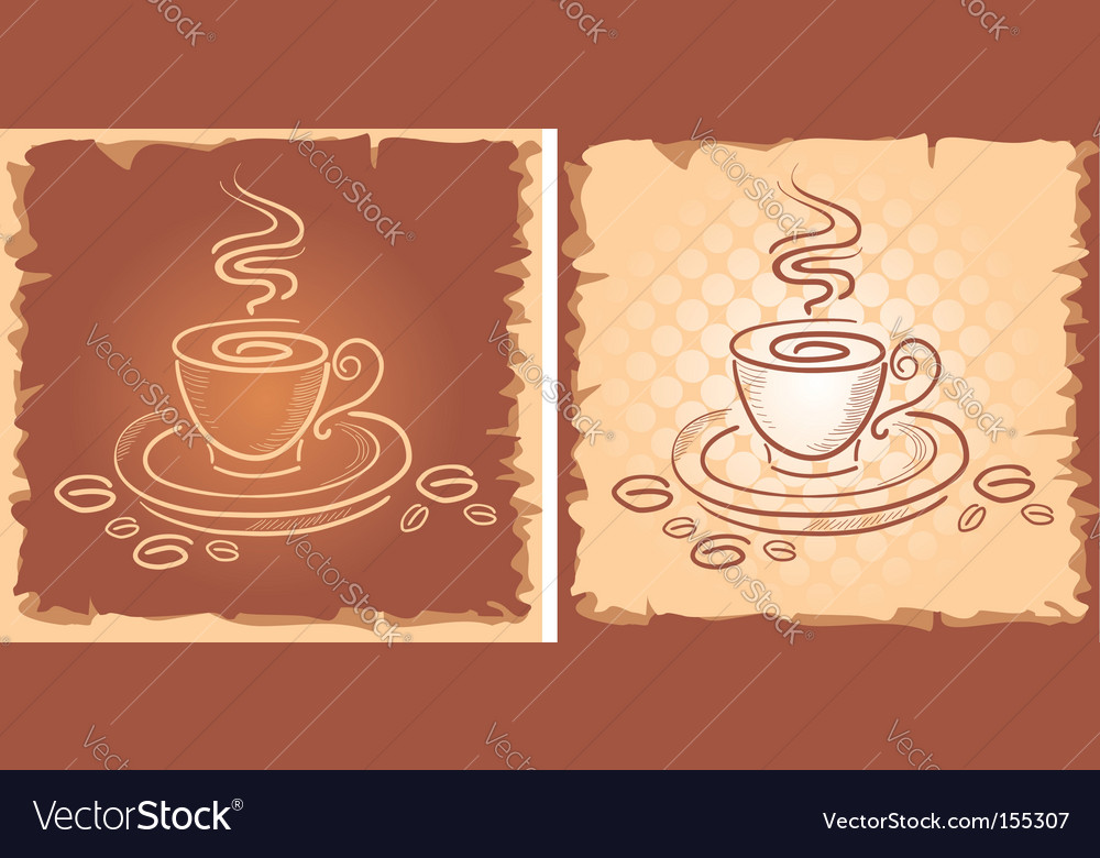 Background with art coffee cup