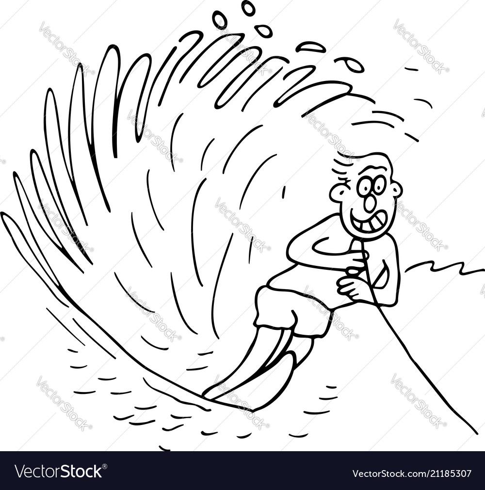 Boy surfing cartoon