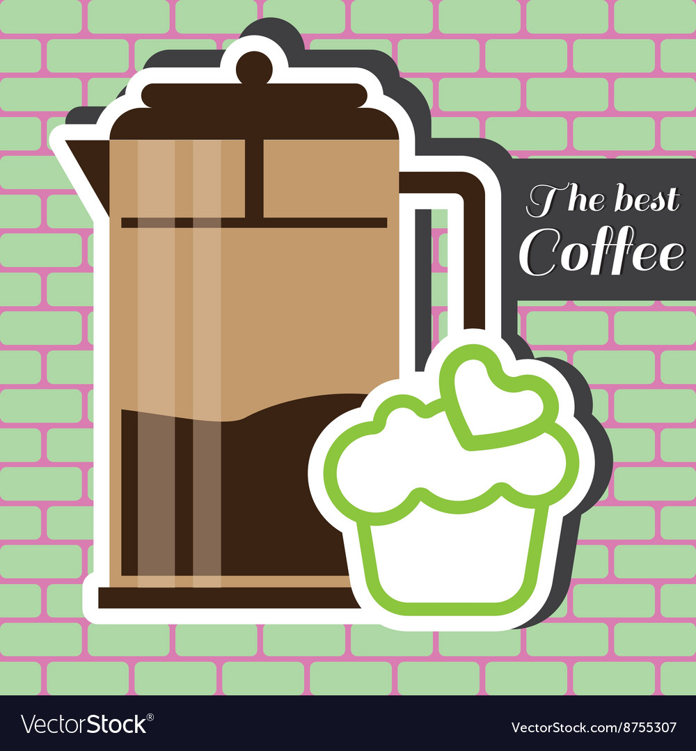 Brown jar of coffee with a green cake vector image