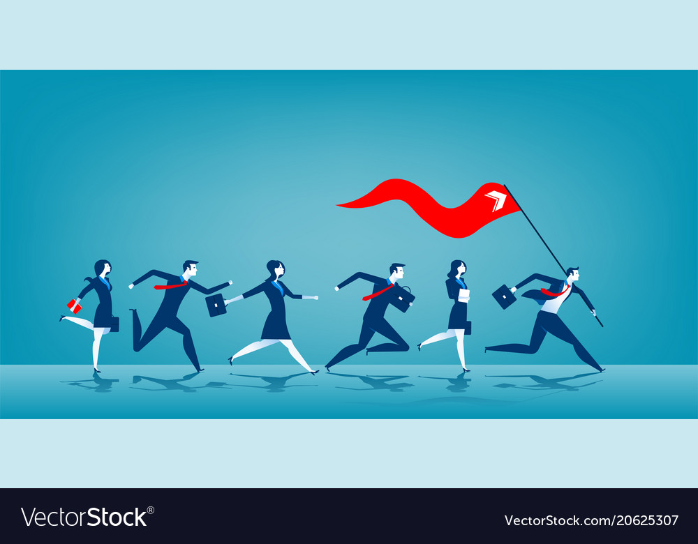 Business leader holding red flag vector image