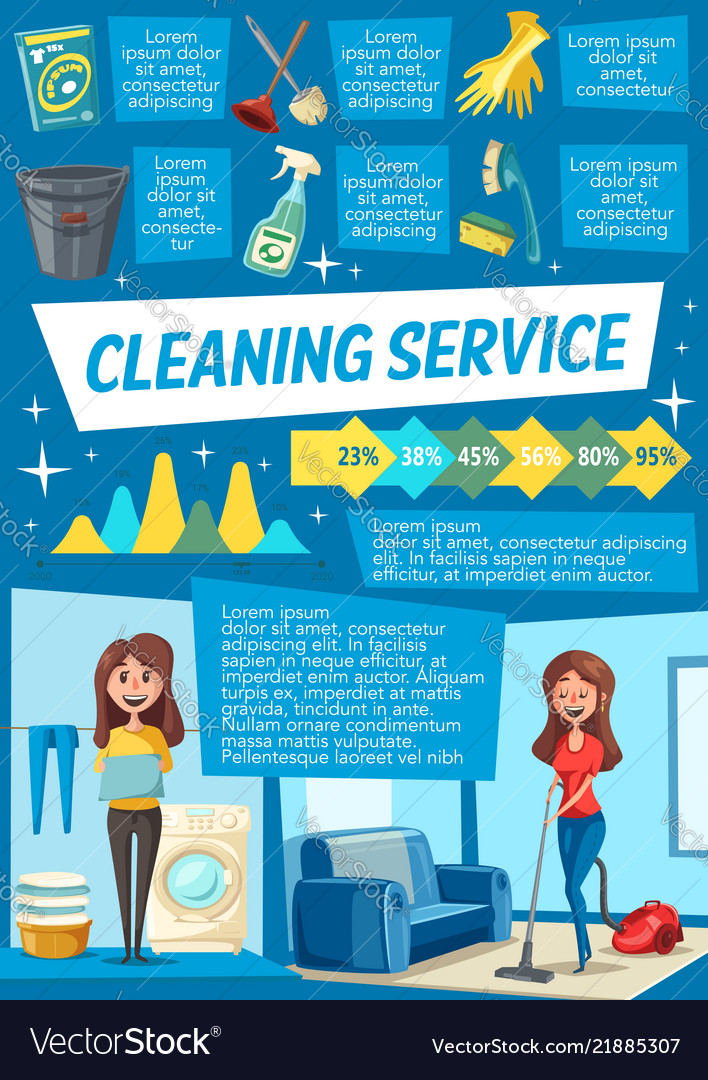 Cleaning service and household work infographics