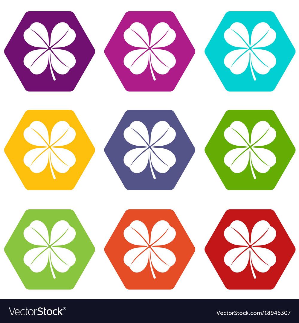 Clover leaf icon set color hexahedron