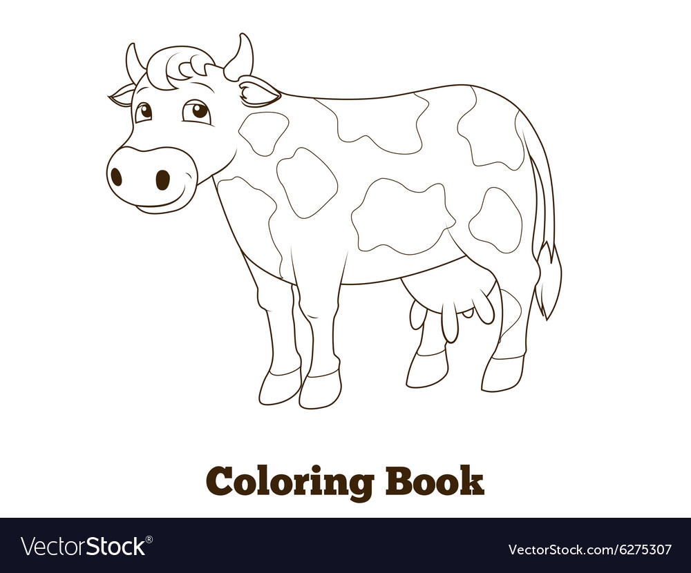 Coloring book cow cartoon educational Royalty Free Vector