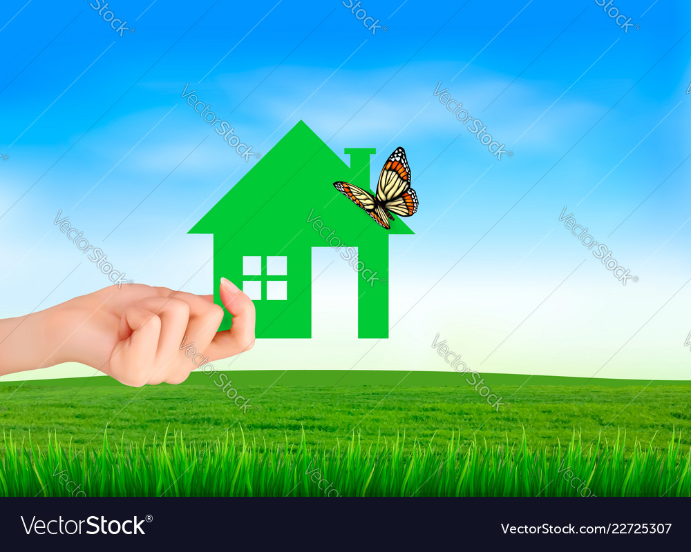 Creative template design for real estate hand