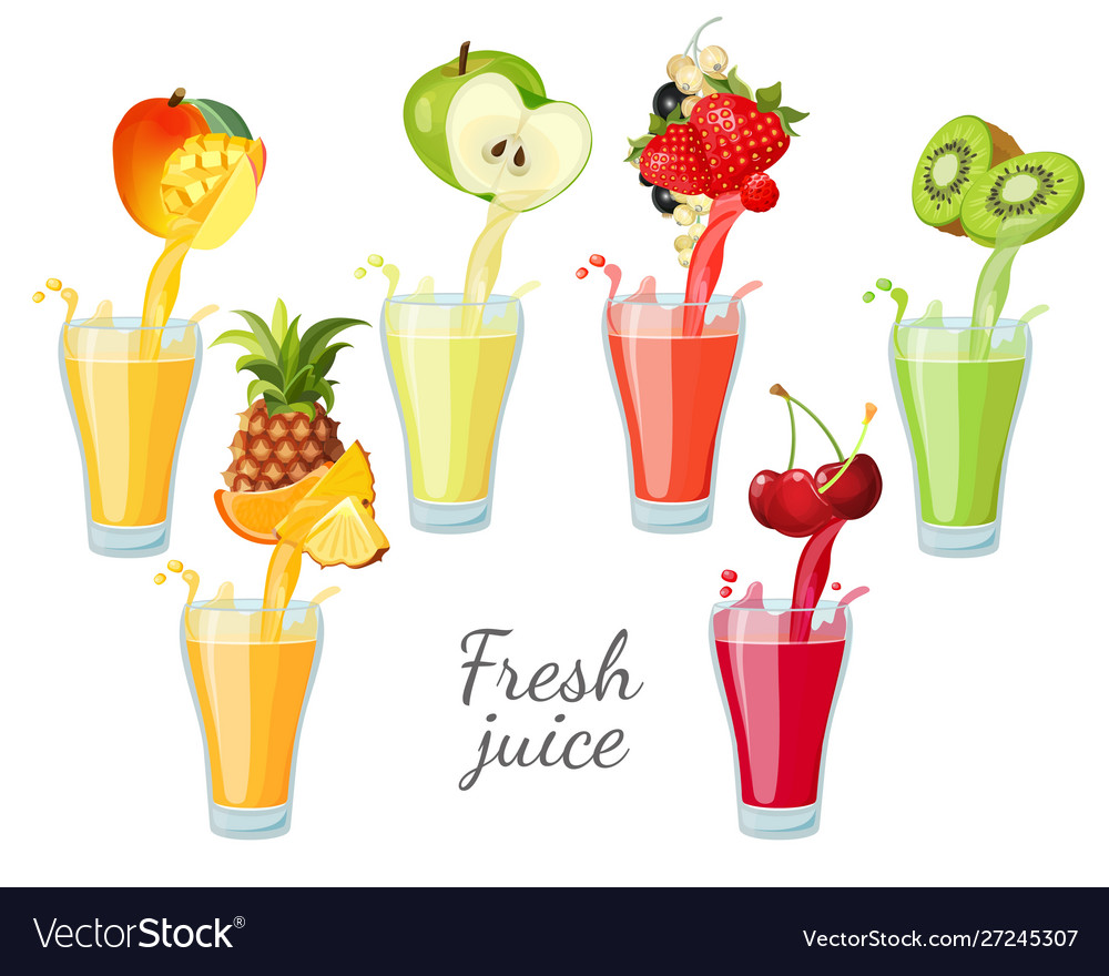 Different fruit juices in glasses with splashes