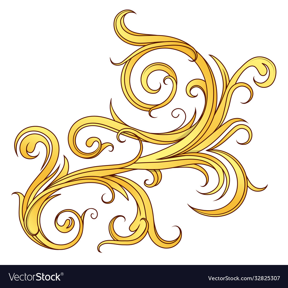 Floral ornament on gold