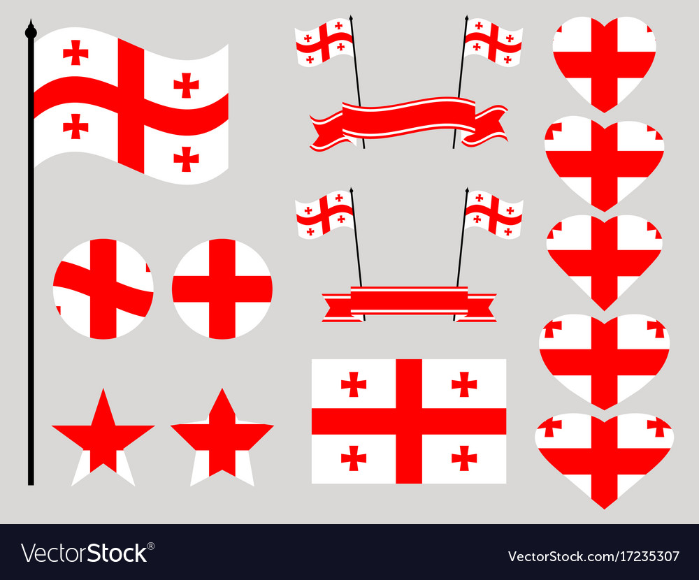 Georgia flag set collection of symbols heart