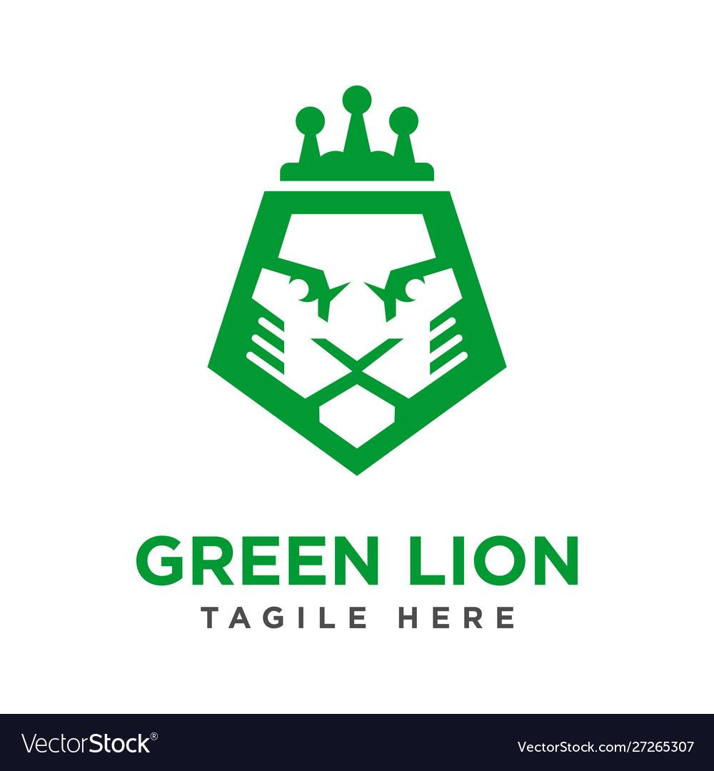 Green lion head logo design