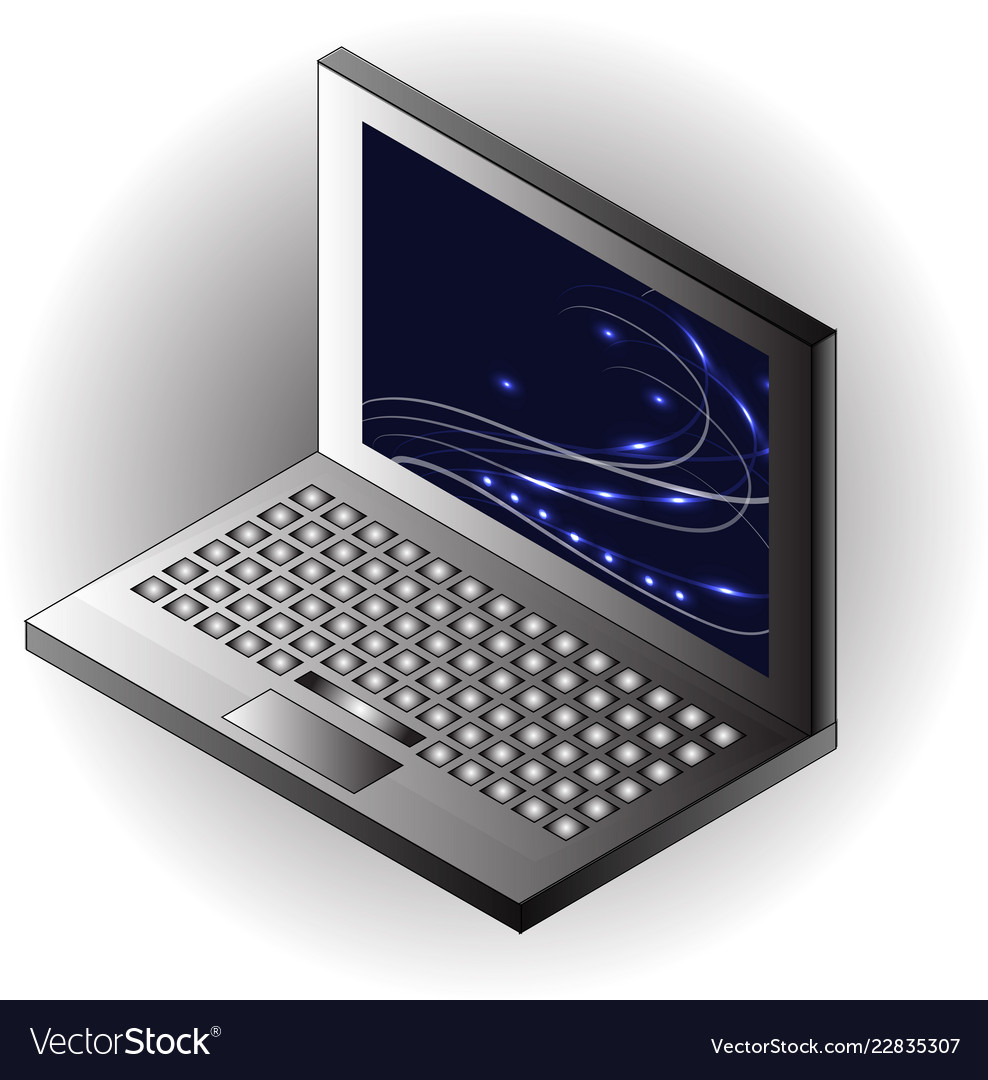 isometric notebook laptop template royalty free vector image