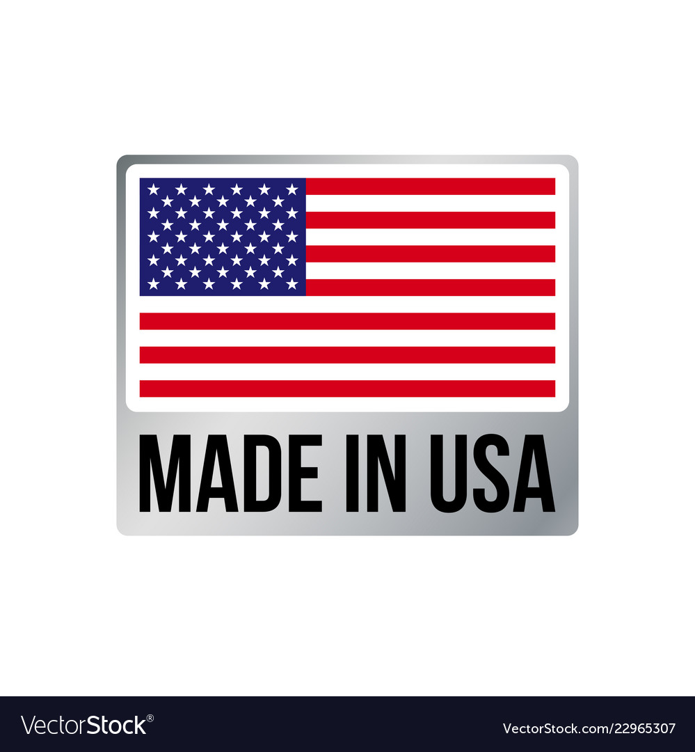 Made in usa silver frame icon american flag