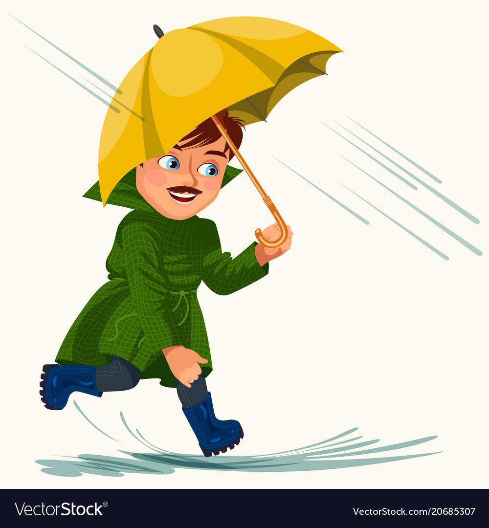 Man walking rain with umbrella hands raindrops