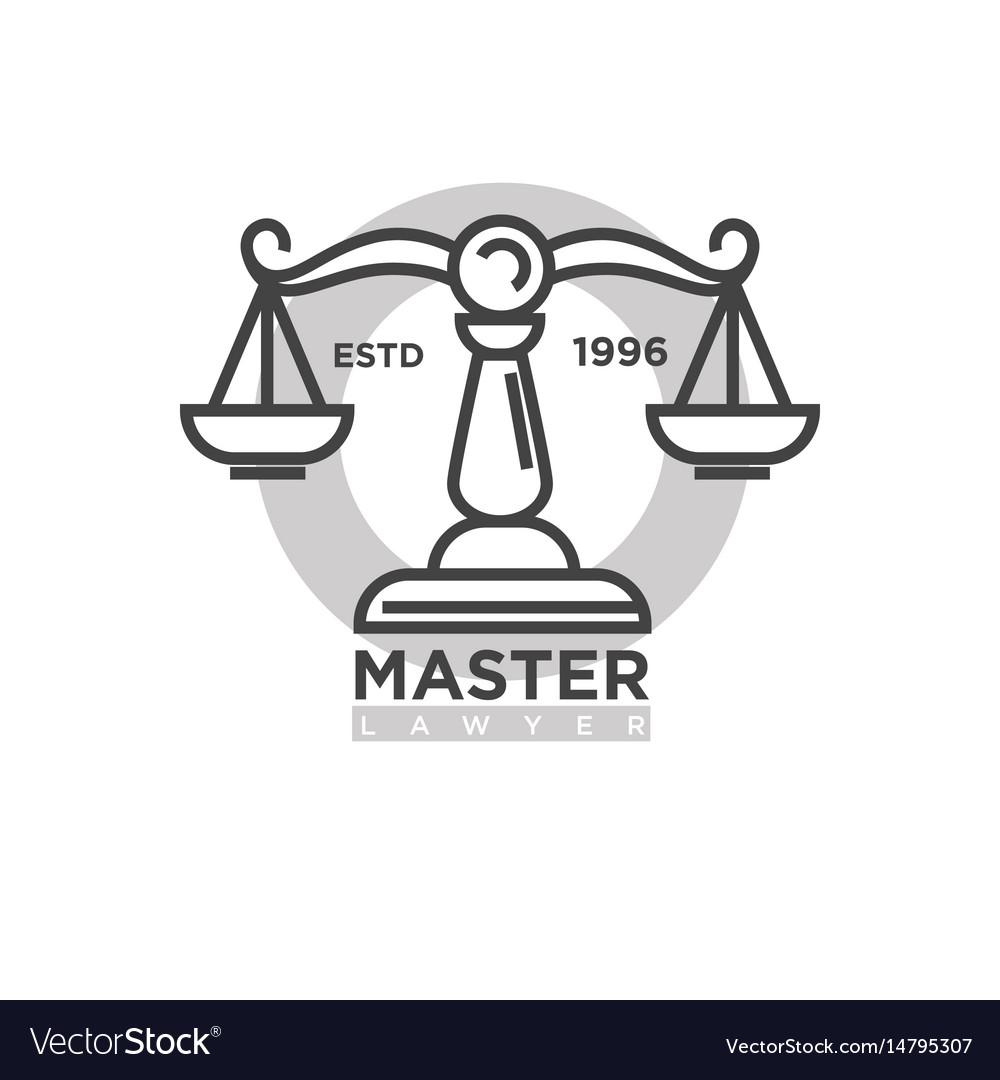 Master lawyer organization emblem with antique vector image