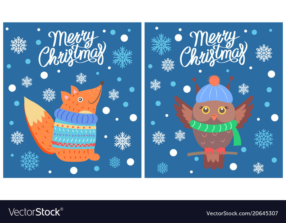 Merry christmas set of posters