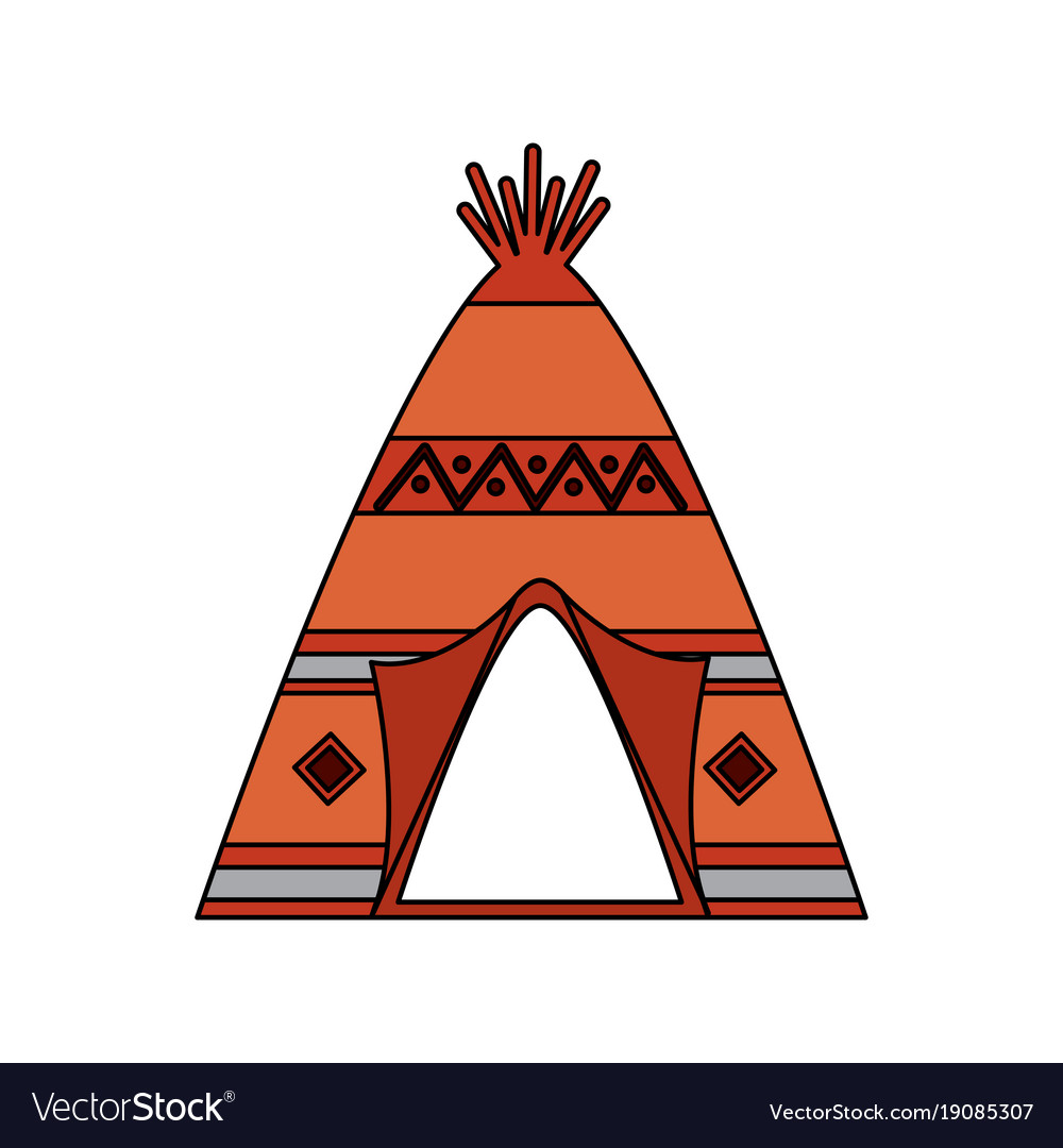 Native american indian teepee home with tribal