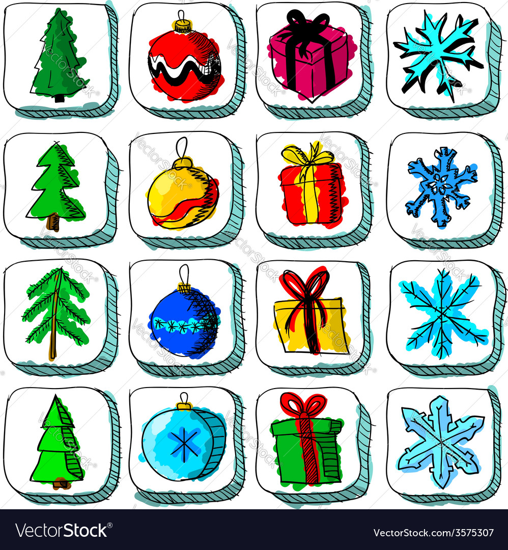 Set of colorful Christmas sketch icons with