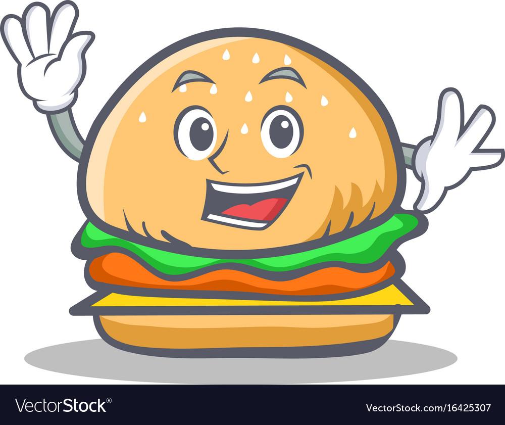 Waving burger character fast food vector image