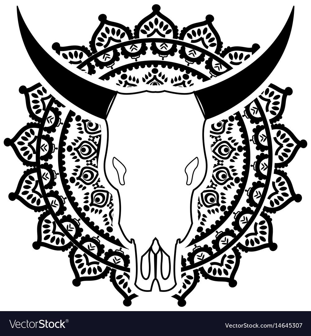 Wild animal skull in black and white on mandala