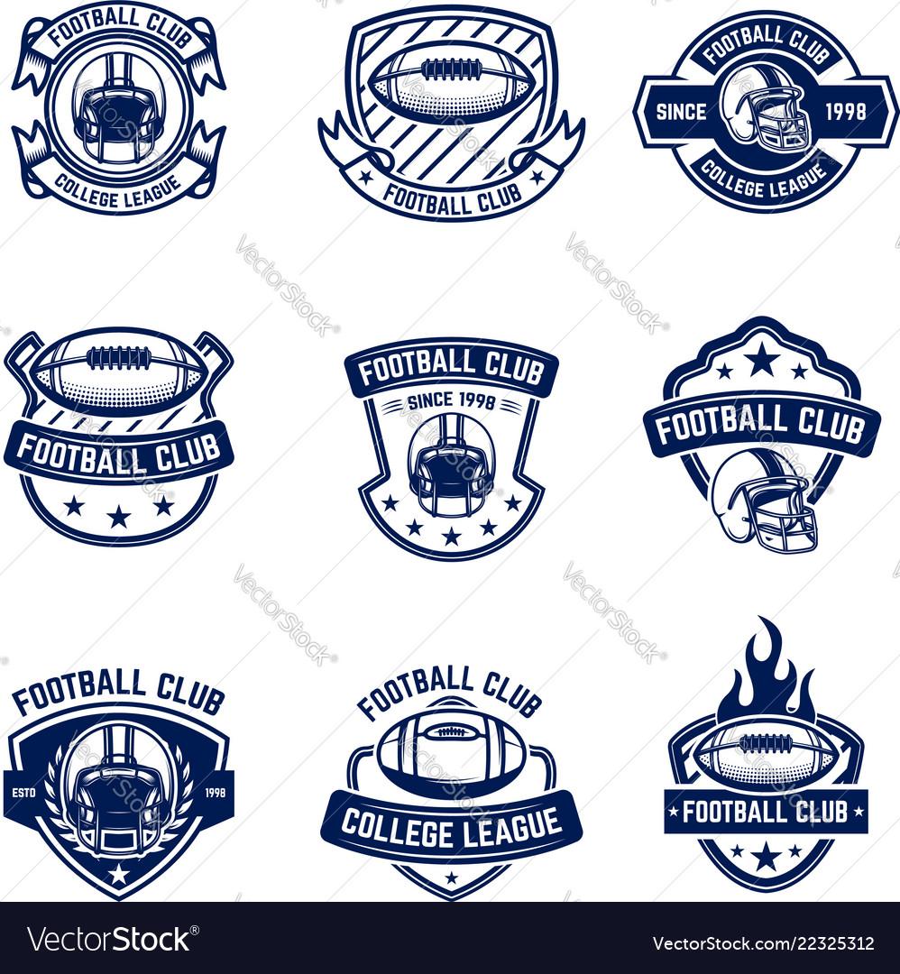 American football emblems design element for logo