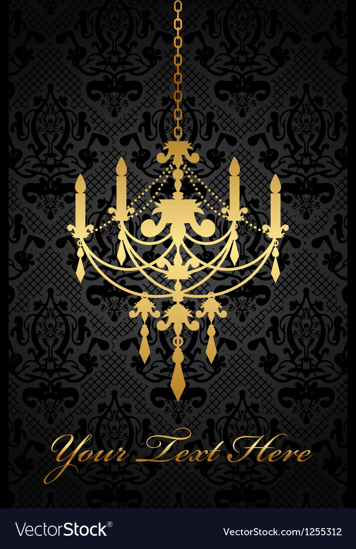 Black background with gold chandelier
