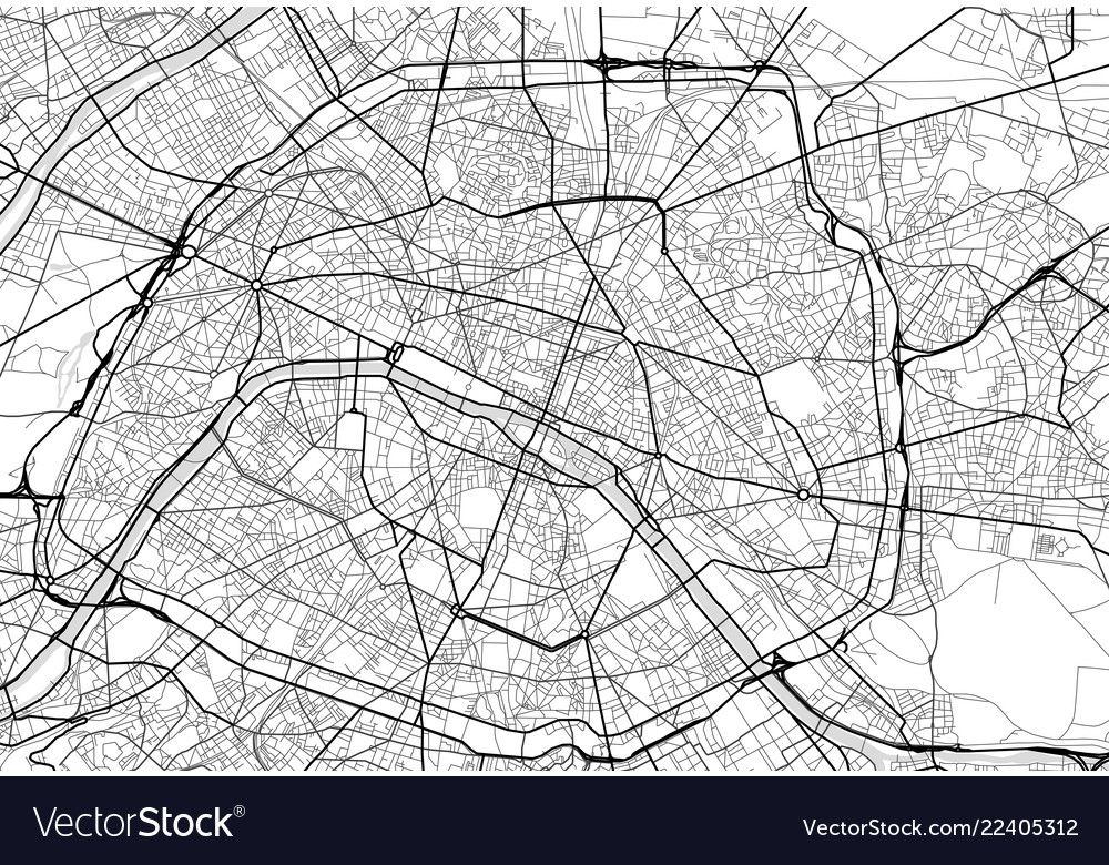 City map of paris in black and white