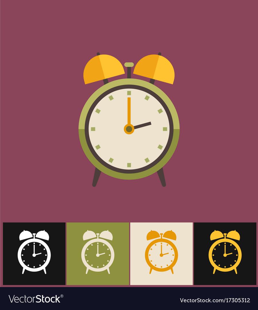 Clock icon flat green analog
